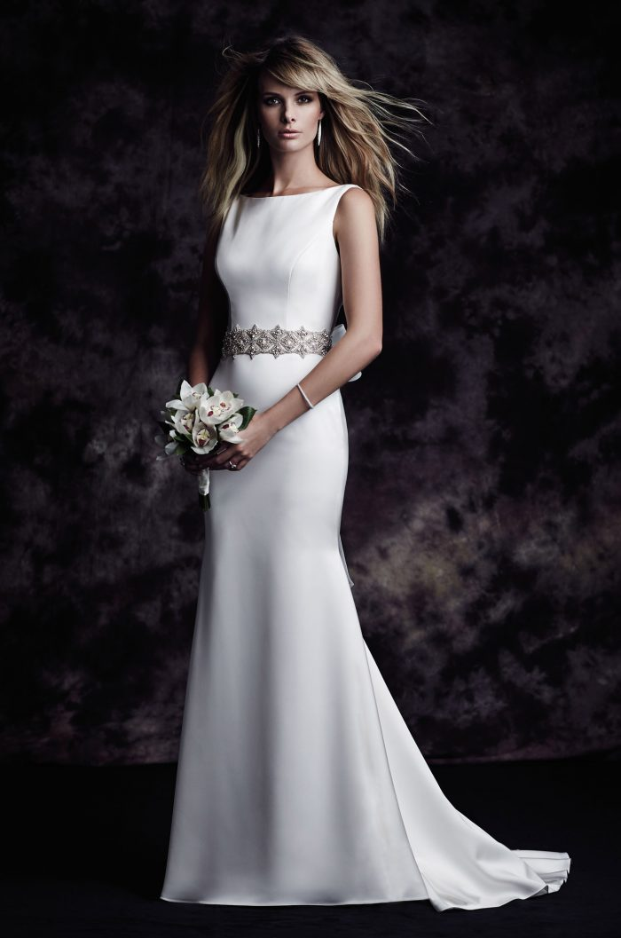 Satin Bateau Wedding Dress - Style #4614 | Paloma Blanca