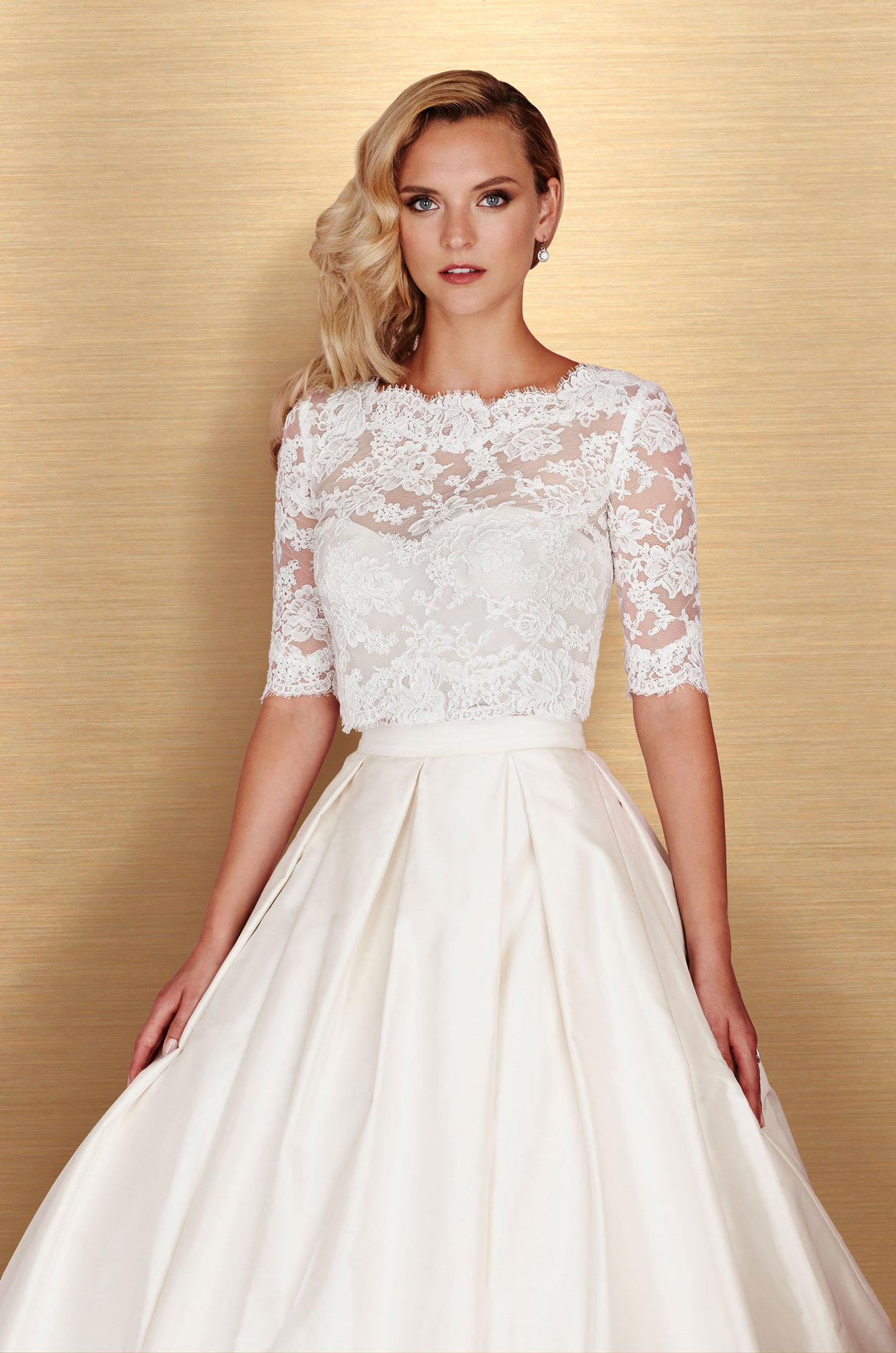 Cropped silk wedding dress style 4667 paloma blanca junglespirit Choice Image