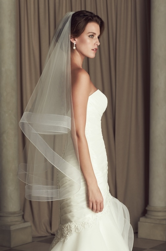Tiered Mohair Edged Fingertip Veil - Style #V443F | Paloma Blanca