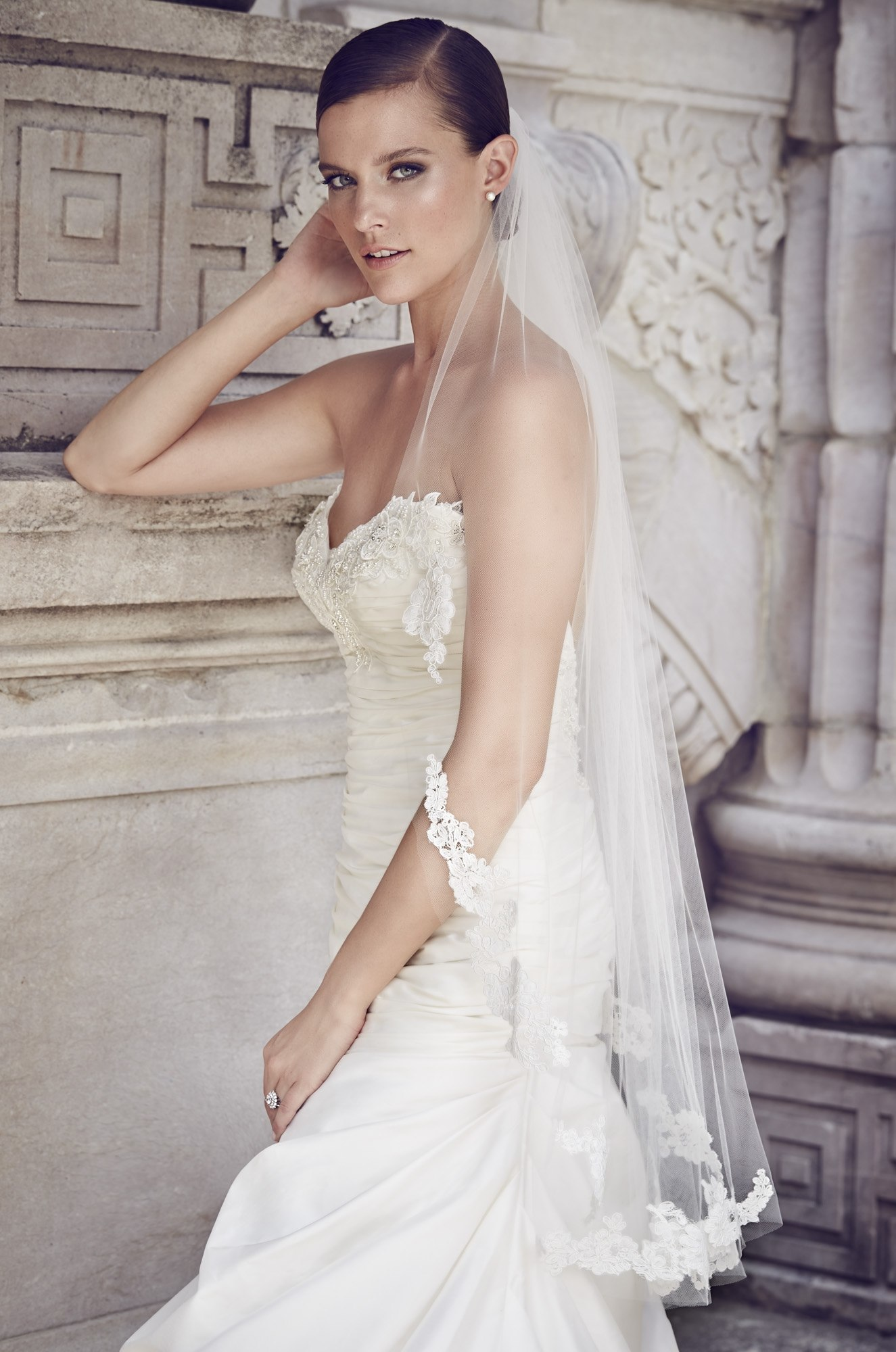 Re-Embroidered Lace Fingertip Veil – Style #V453F | Paloma Blanca