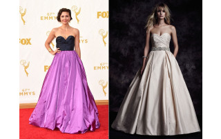 Paloma Blanca Style 4606 is comparable to Maggie Gyllenhall's 67th Emmys Red Carpet gown.