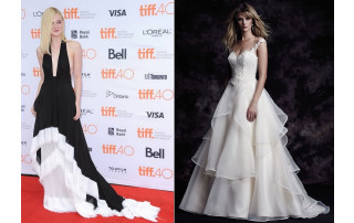 Paloma Blanca Style 4605 comparable to Ellie Fanning's TIFF 2015 gown.
