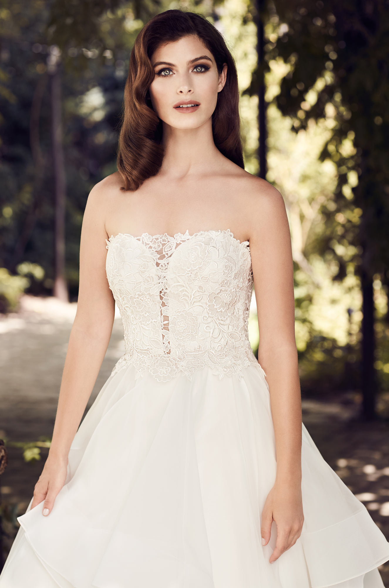 Line Two-Tone Lace Wedding Dress - Style #4729 | Paloma Blanca