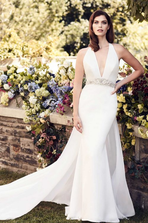 Sophisticated Chiffon Train Wedding Dress - Style #4741 | Paloma Blanca