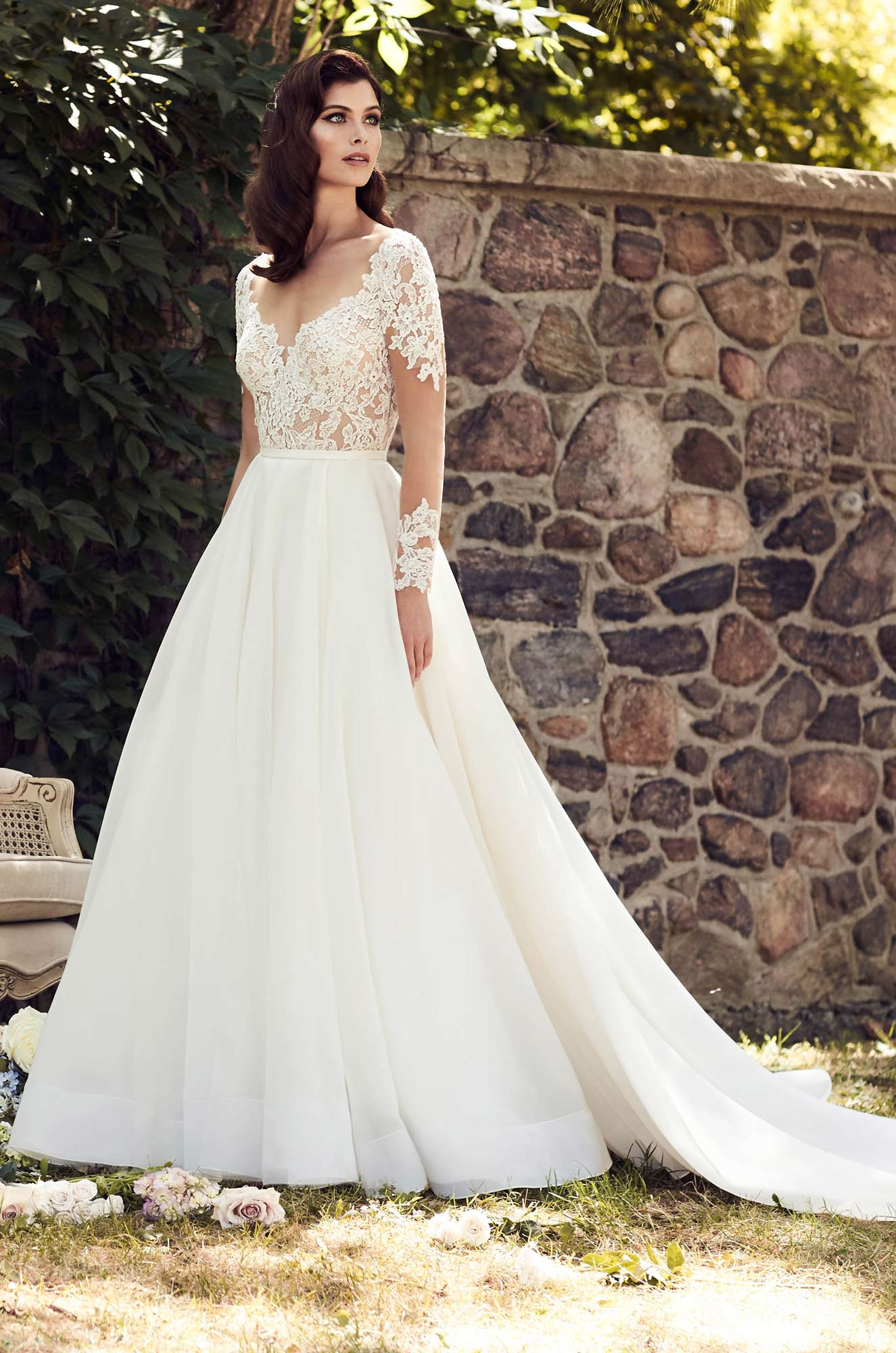 Illusion Lace Sleeve Wedding Dress – Style #4744 | Paloma Blanca