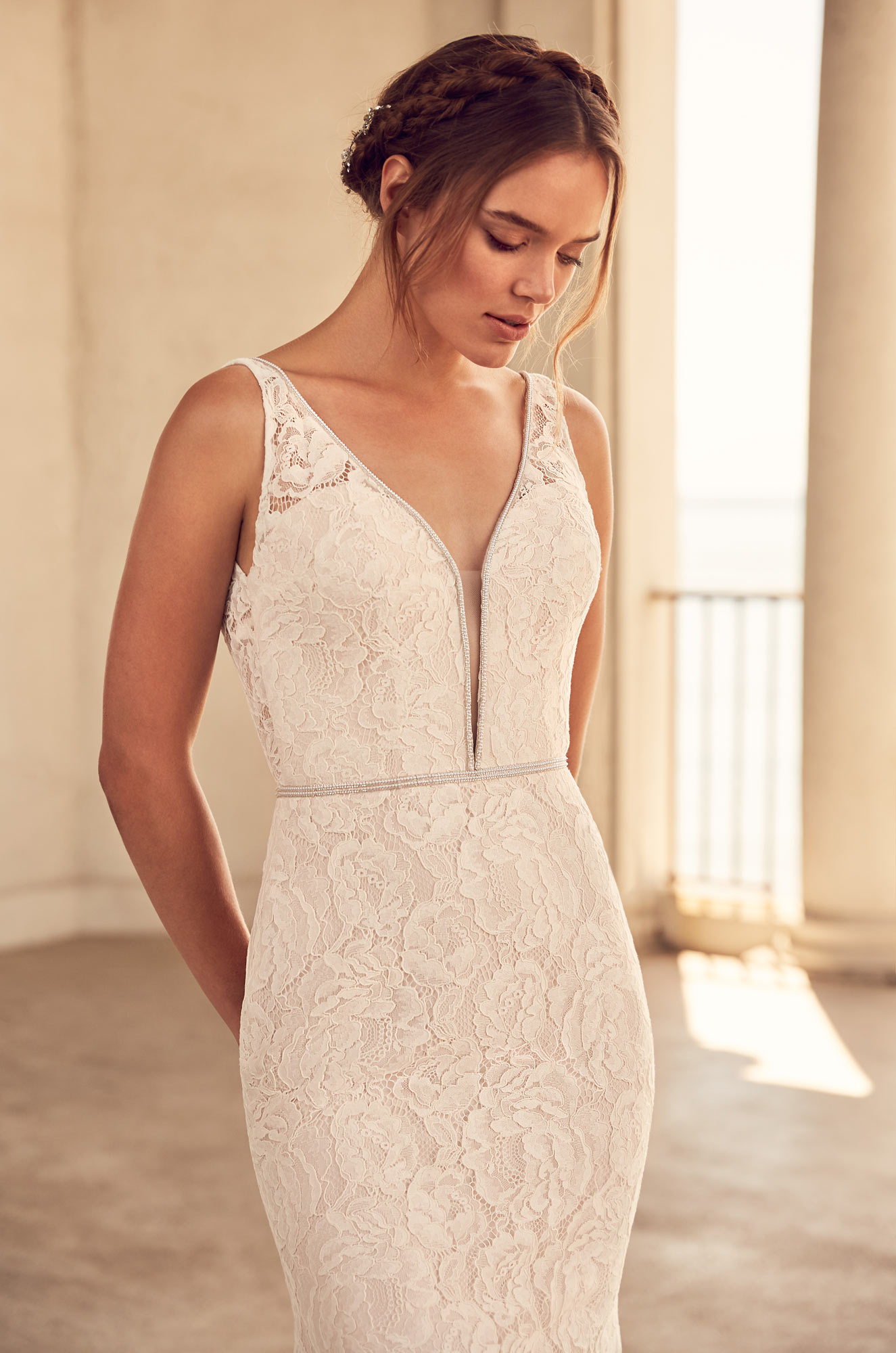 Beaded Neckline Wedding Dress - Style #4792 | Paloma Blanca