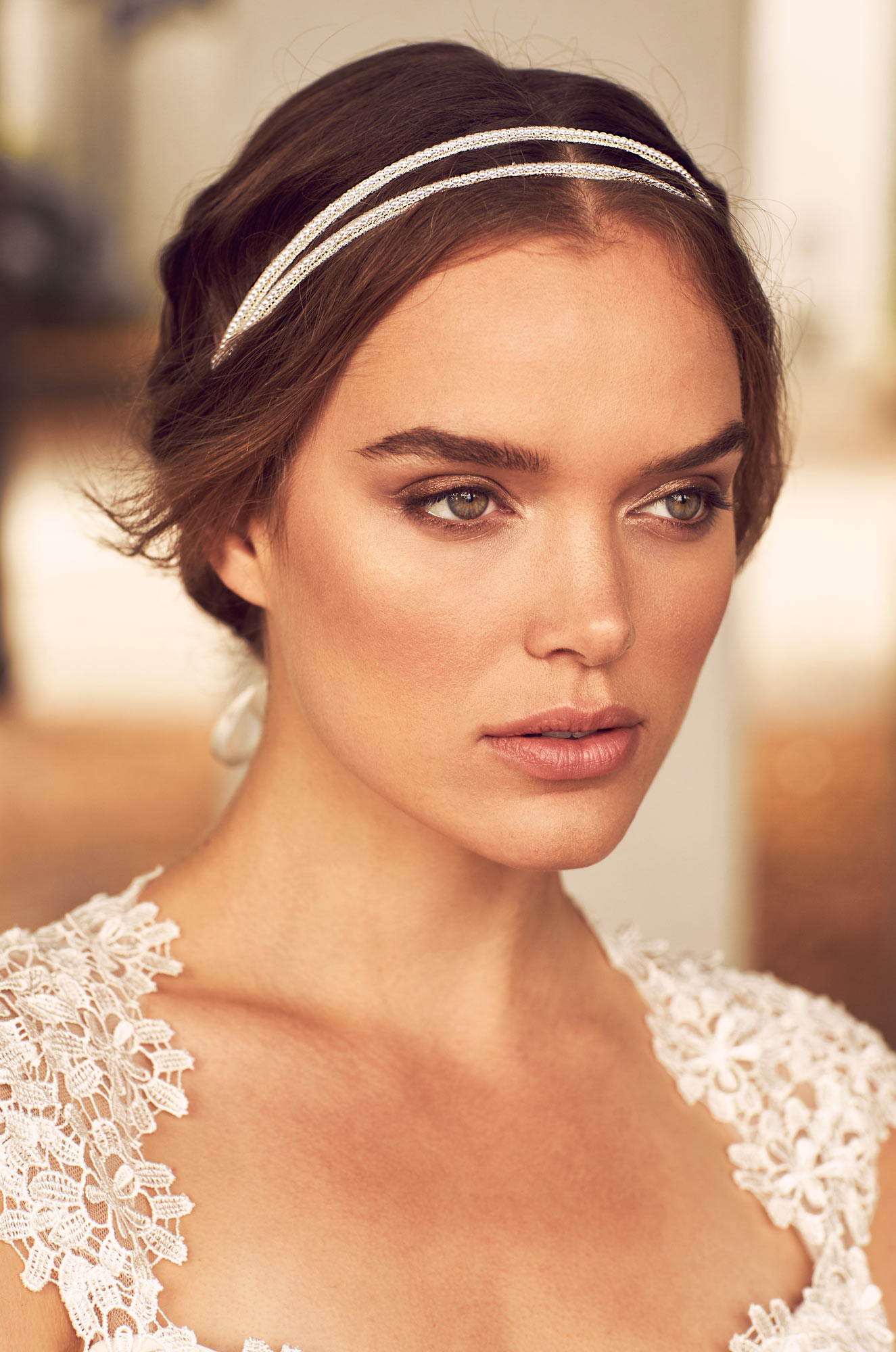 Double Pearl Beaded Hairband – Style #HB100 | Paloma Blanca