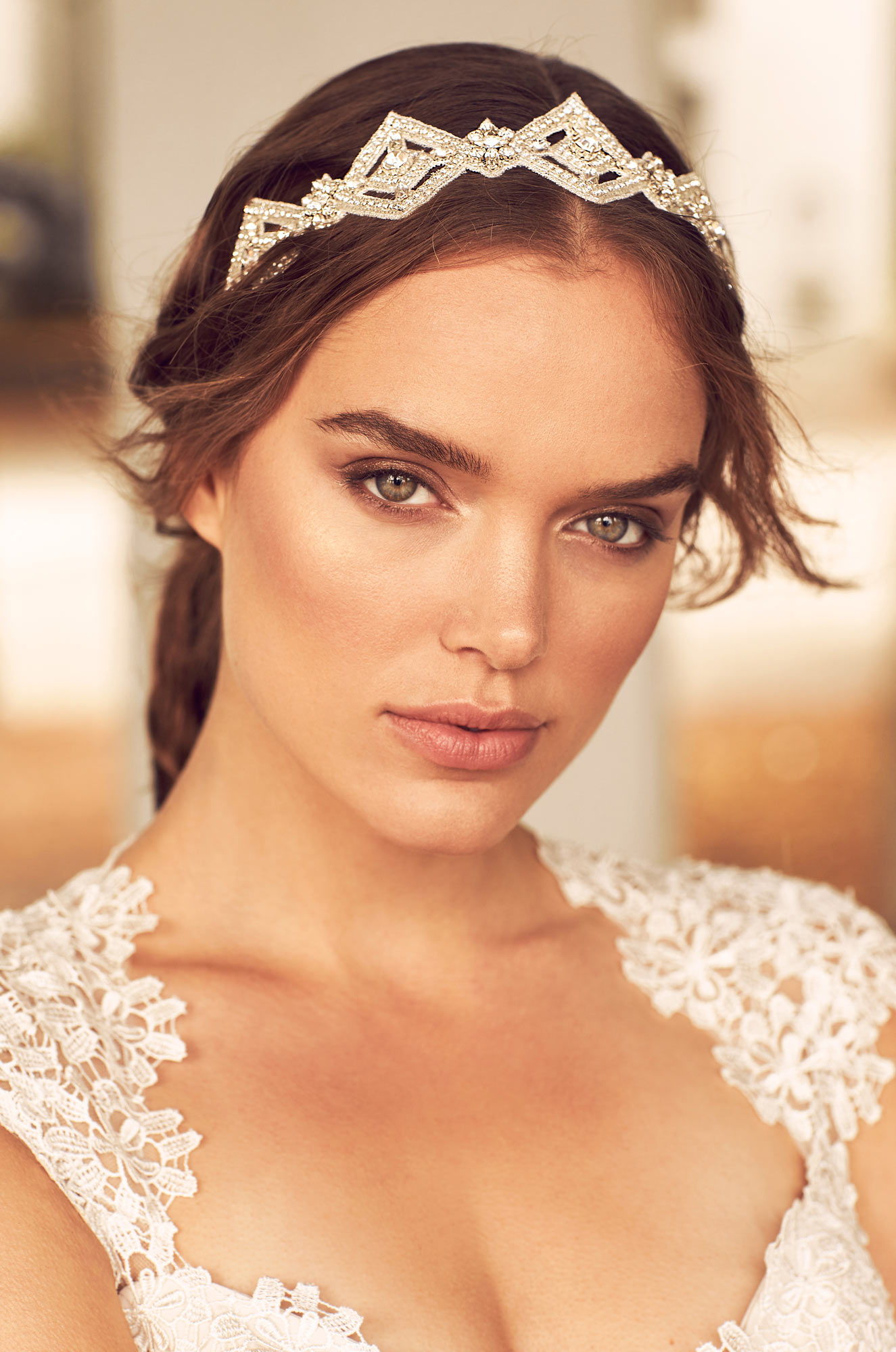 Diamond Shaped Beaded Hairband – Style #HB102 | Paloma Blanca