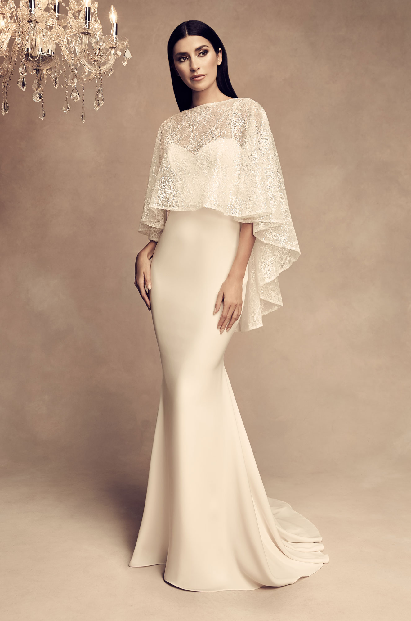 Sequin Cape Wedding Dress - Style #4805 | Paloma Blanca
