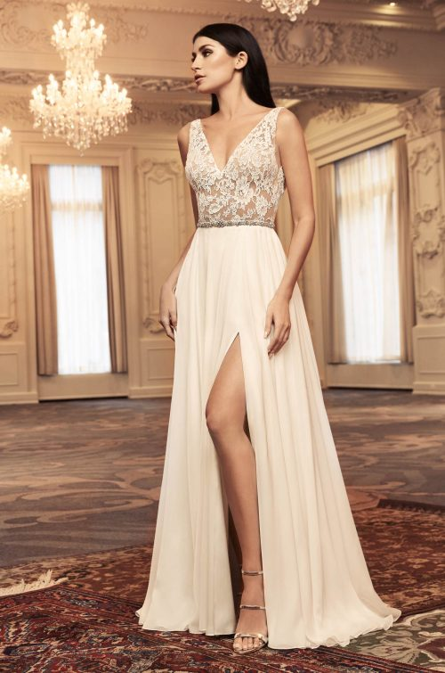 Ethereal Side Slit Wedding Dress - Style #4808 | Paloma Blanca