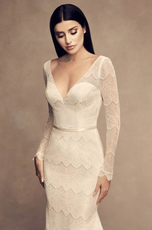 Long Chantilly Sleeve Wedding Dress - Style #4817 | Paloma Blanca