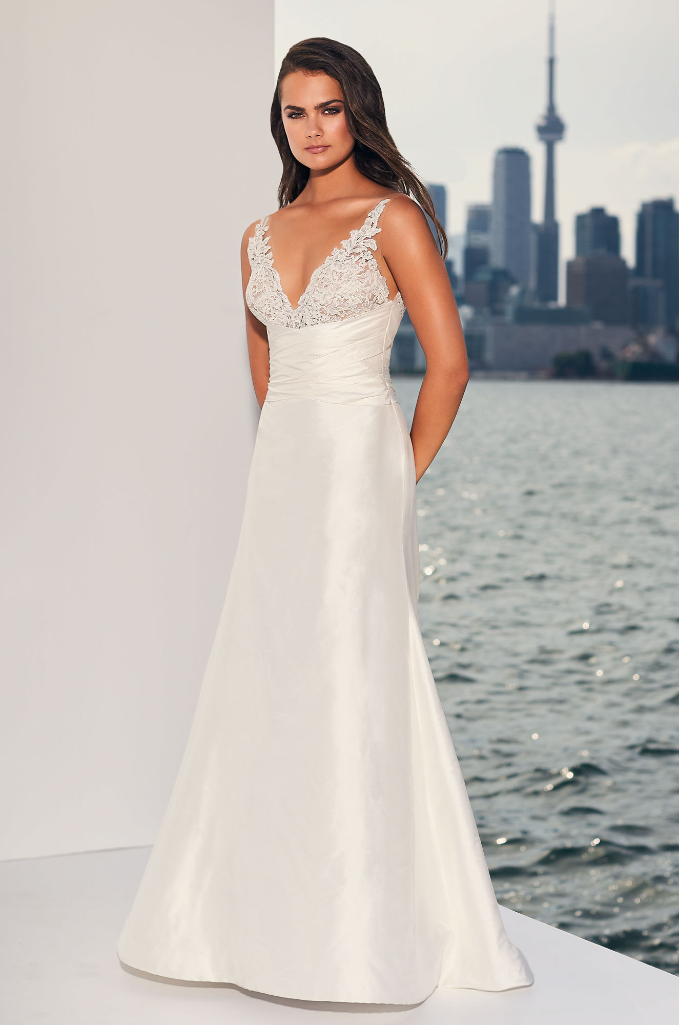 Ruched Midriff Silk Wedding Dress Style 4830 Paloma Blanca