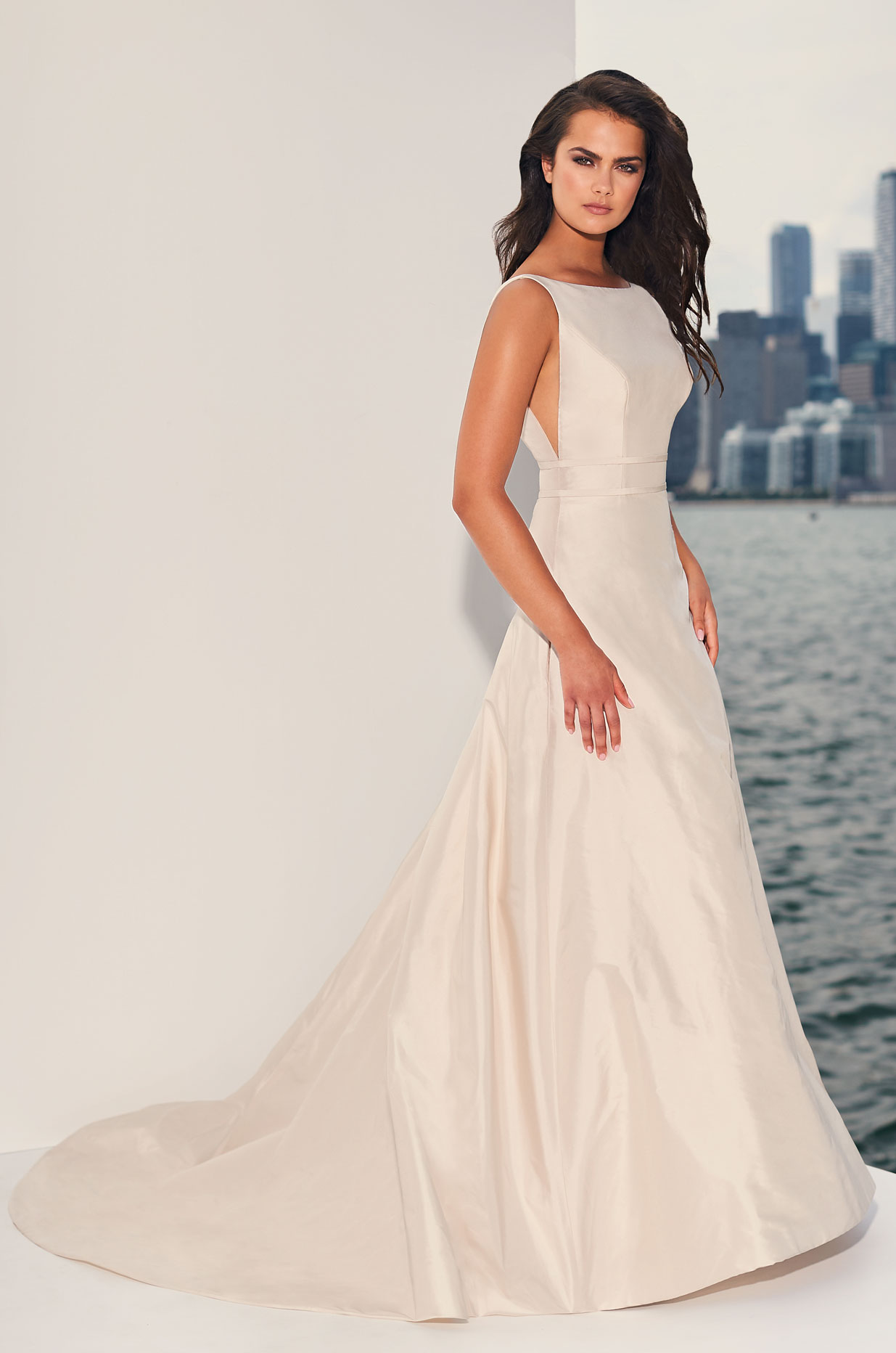 Polished Boat Neckline Wedding Dress – Style #4832 | Paloma Blanca