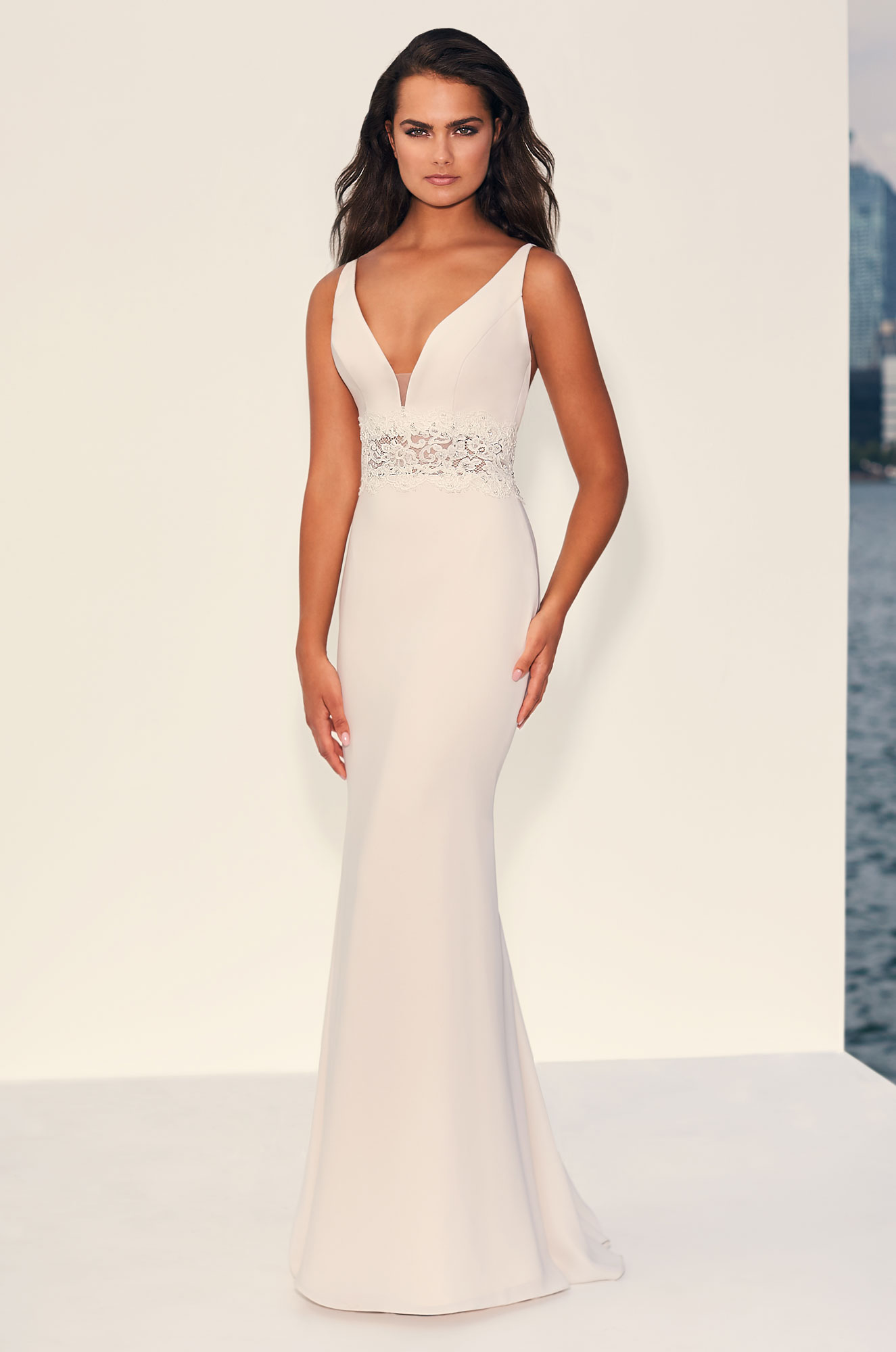 Beaded Lace Midriff Satin Wedding Dress - Style #4837