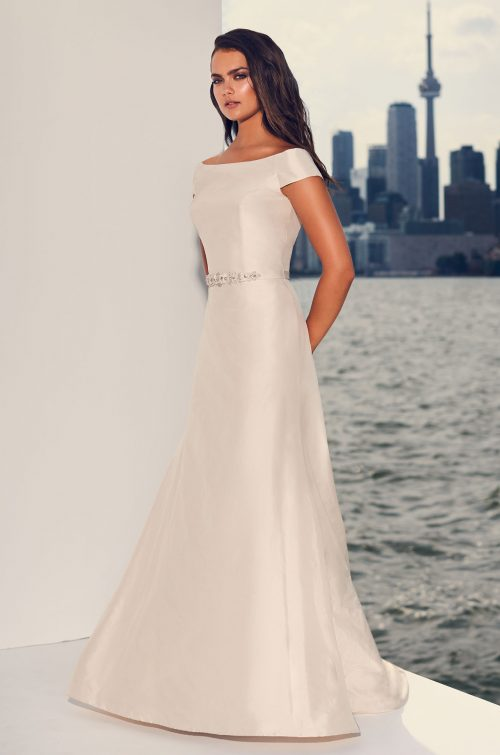 Short Sleeve Silk Wedding Dress - Style #4839 | Paloma Blanca