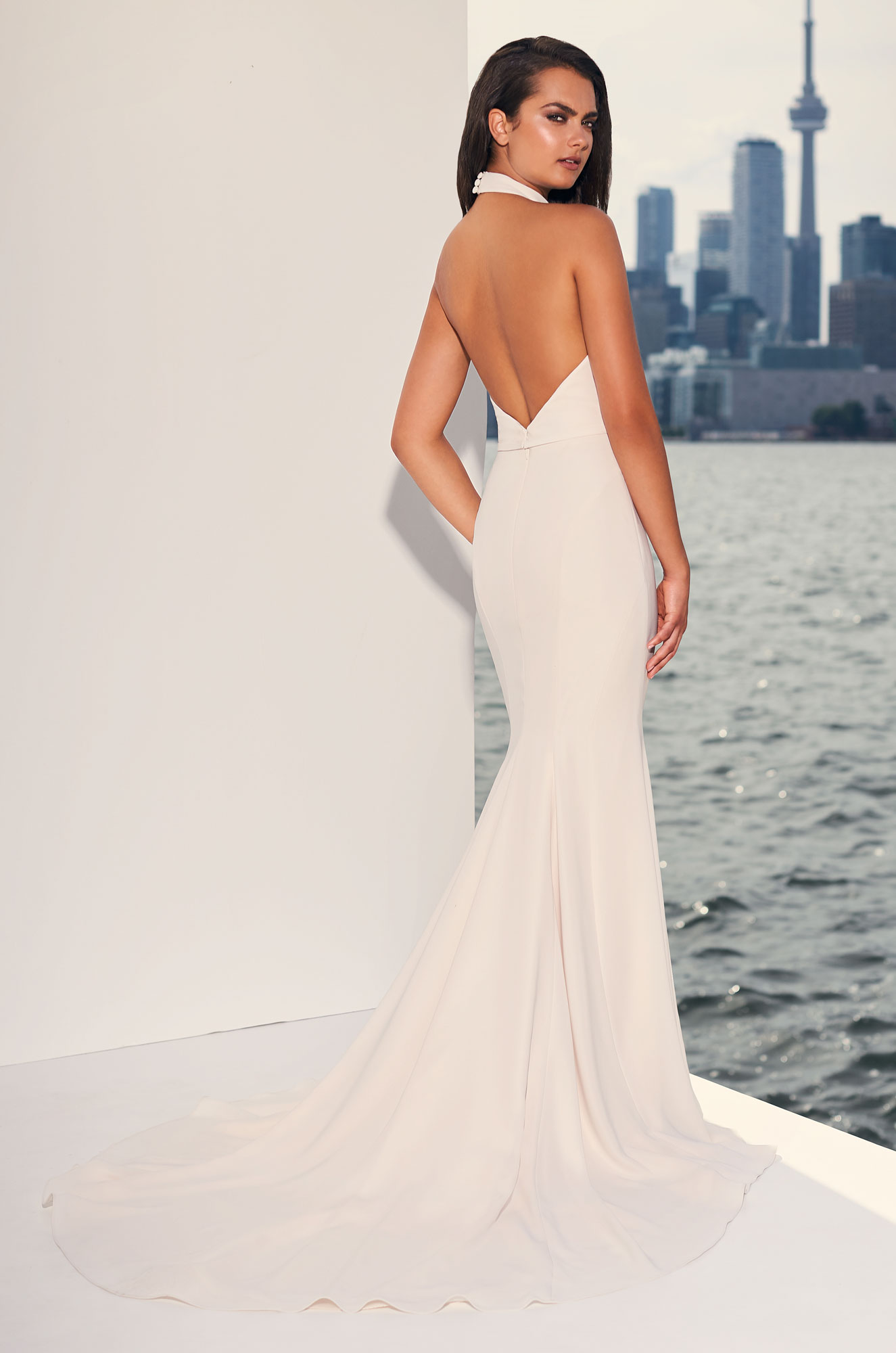 Graceful Crêpe Halter Wedding Dress - Style #4841