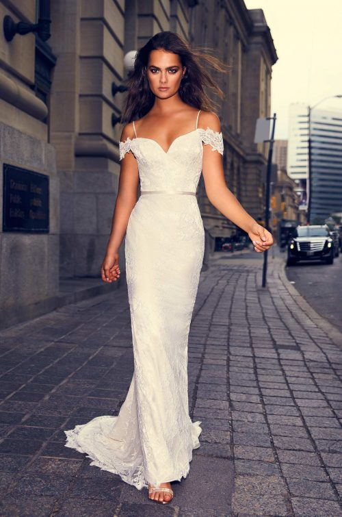 Draped Lace Sleeve Wedding Dress - Style #4843 | Paloma Blanca