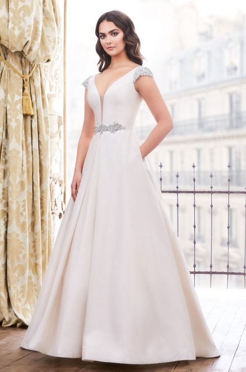 Beaded Silk Ball Gown Wedding Dress - Style #4853