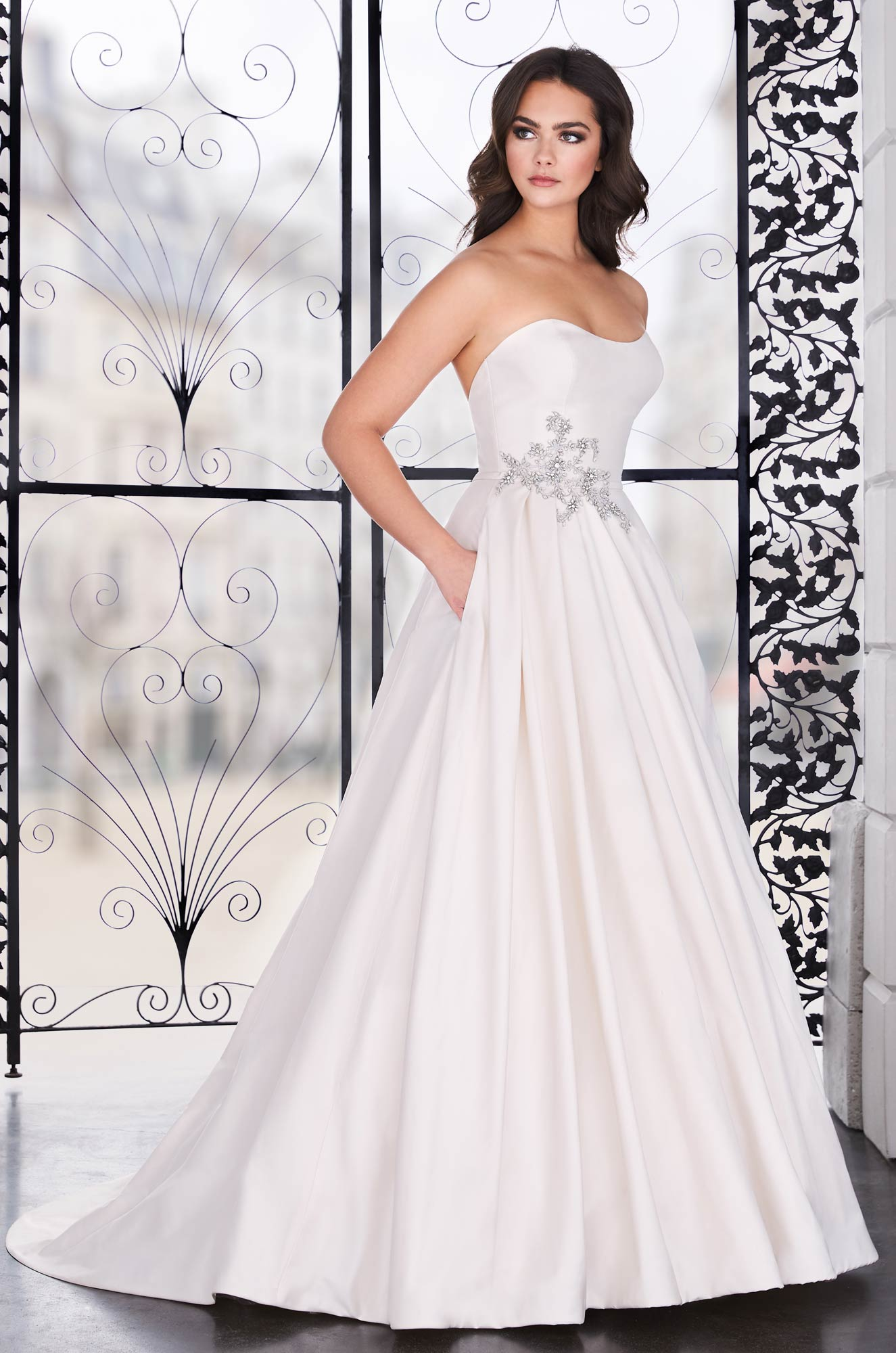 Asymmetrical Silk Wedding Dress – Style #4856 | Paloma Blanca