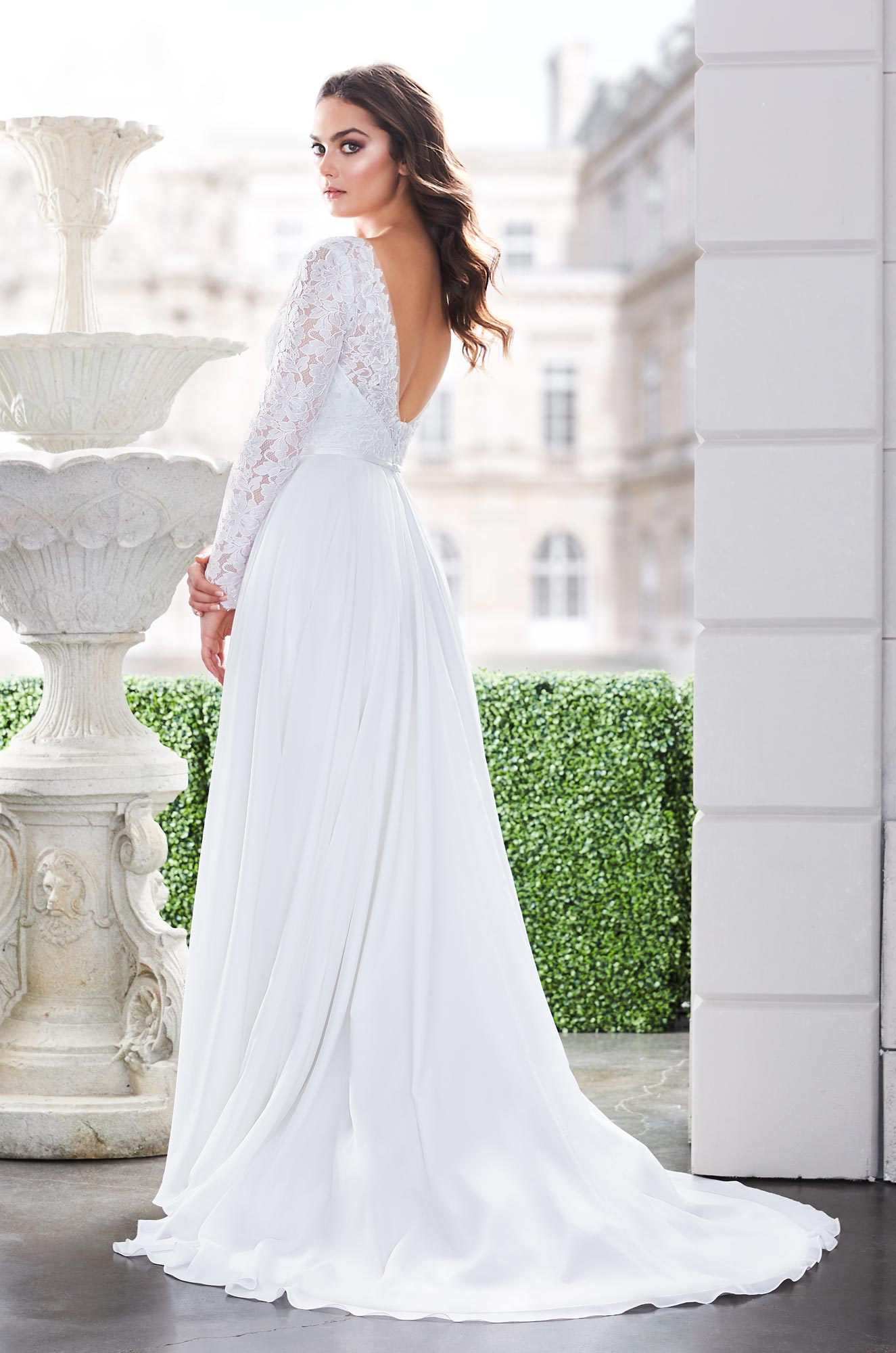 Romantic Lace Sleeve Wedding Dress - Style #4870 | Paloma Blanca