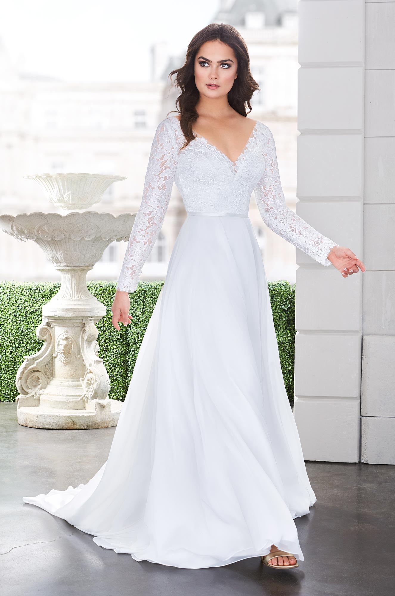 Romantic Lace Sleeve Wedding Dress – Style #4870 | Paloma Blanca