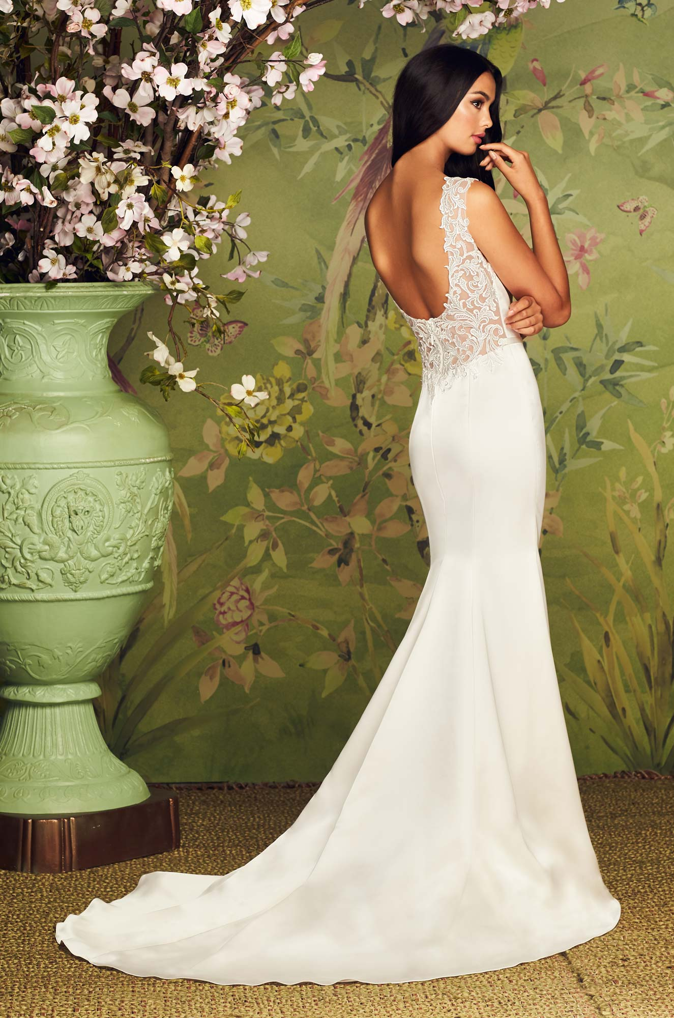 Elegant High Neck Satin Wedding Dress – Style #4882 | Paloma Blanca
