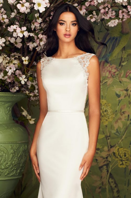 Elegant High Neck Satin Wedding Dress - Style #4882 | Paloma Blanca