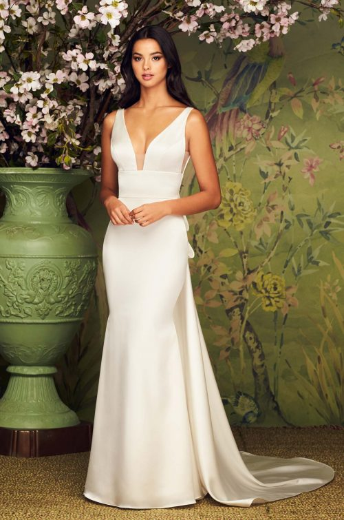 Timeless Two Piece Satin Wedding Dress - Style #4884 | Paloma Blanca