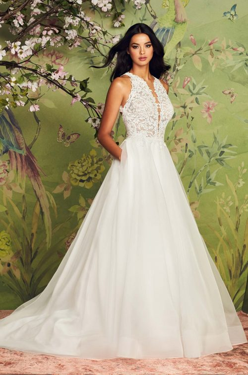 Stylish Jewel Neckline Wedding Dress - Style #4885 | Paloma Blanca