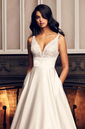 Full Satin Skirt Wedding Dress - Style #4906 | Paloma Blanca
