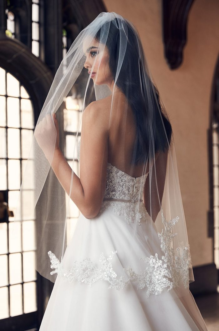 Glamorous Beaded Lace Veil - Style #V495F | Paloma Blanca