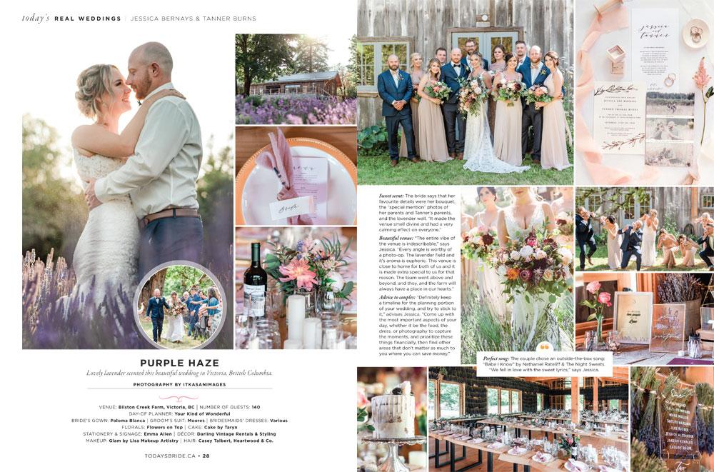 Today's Bride Spring Summer 2020 Real Wedding Purple Haze Paloma Blanca Style 4746