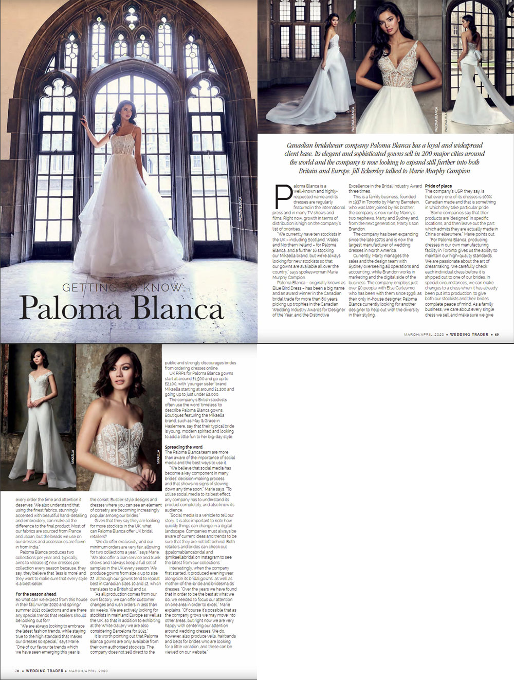 Wedding Trader Magazine March/April 2020 Paloma Blanca and Mikaella Fall 2020