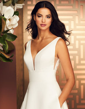 Paloma Blanca What Do You Wear Under A Wedding Dress Plunging Neckline Style 4892