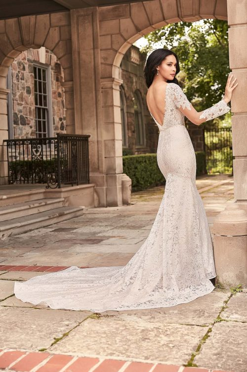 Flared Lace Sleeve Wedding Dress - Style #4928 | Paloma Blanca