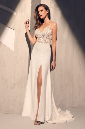 Sheer Floral Bodice Wedding Dress - Style #2208   Mikaella Bridal