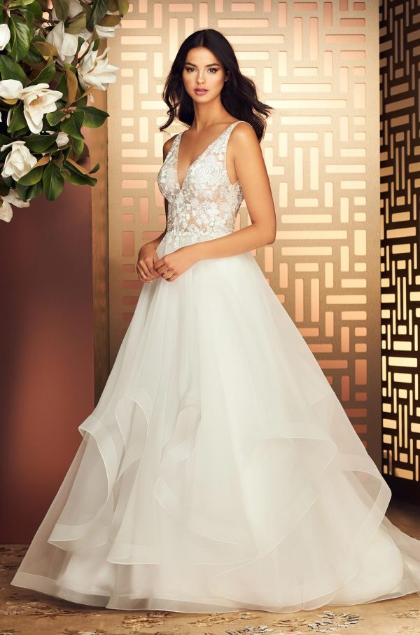 Delicate V-Neck Lace Wedding Dress - Style #4880   Paloma Blanca
