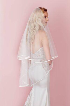 Satin Edged Fingertip Veil - Style #V457F | Paloma Blanca
