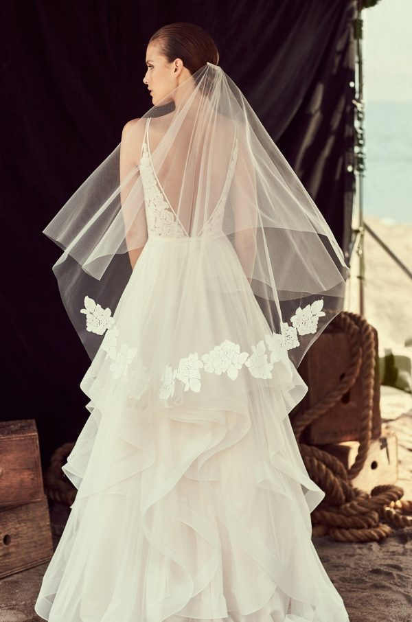 Two Tier Floral Lace Veil - Style #VM480F   Mikaella Bridal