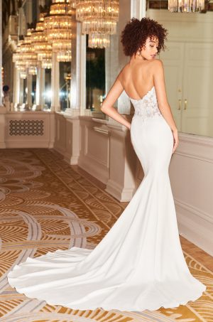 Strapless Asymmetric Wedding Dress - Style #2353 | Mikaella Bridal