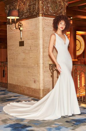 Classy Fitted Wedding Dress - Style #2359 | Mikaella Bridal