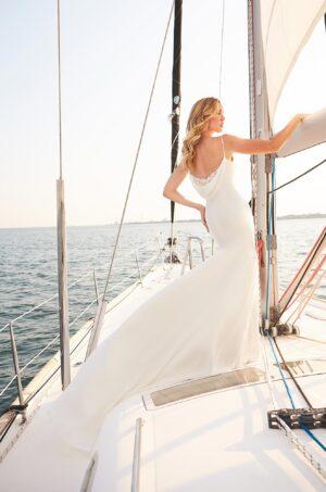 Trendy Cowl Back Wedding Dress - Style #2377 | Mikaella Bridal