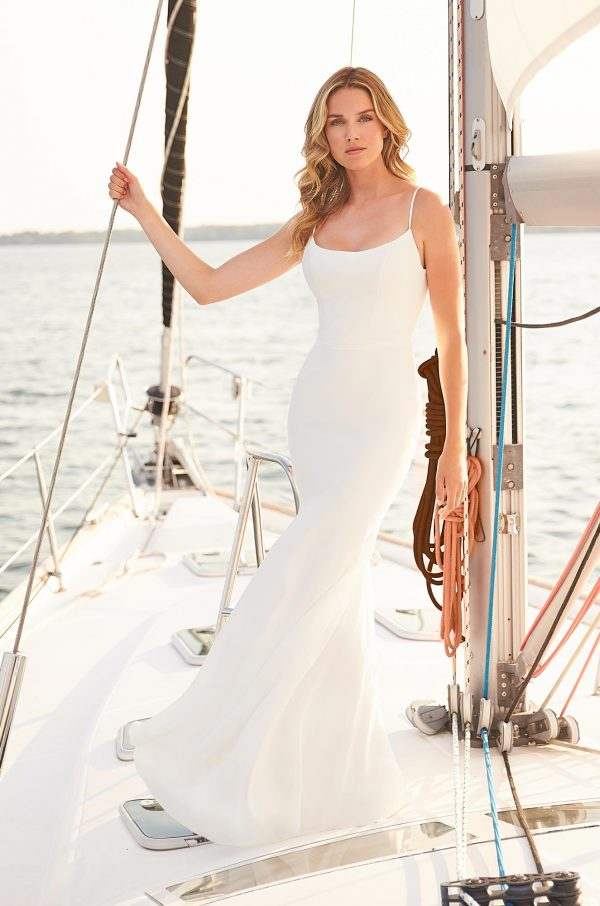 Trendy Cowl Back Wedding Dress - Style #2377   Mikaella Bridal