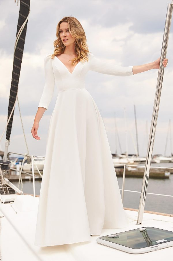 Effortless Crepe Wedding Dress - Style #2381 | Mikaella Bridal