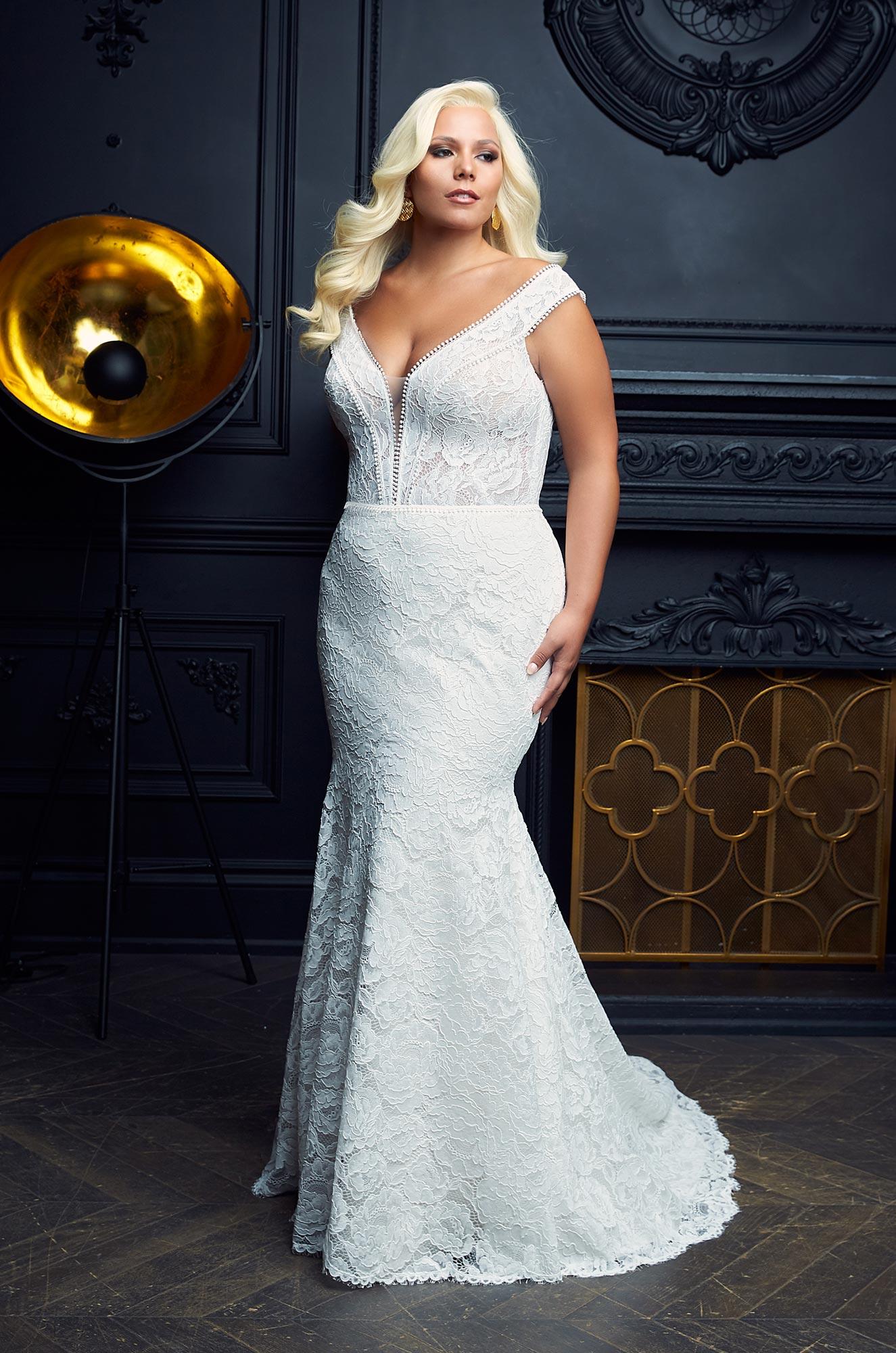Stunning Lace Trim Wedding Dress - Style #4976 | Paloma Blanca