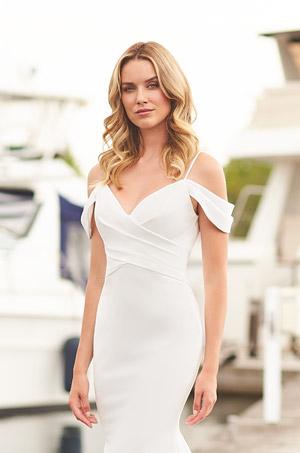Glamorous Crepe Wedding Dress - Style #2379 | Mikaella Bridal